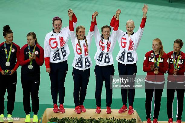 Day 8 The Great Britain team of Katie Archibald Laura Trott Elinor Barker and Joanna RowsellShand celebrate after winning the gold medal in the...
