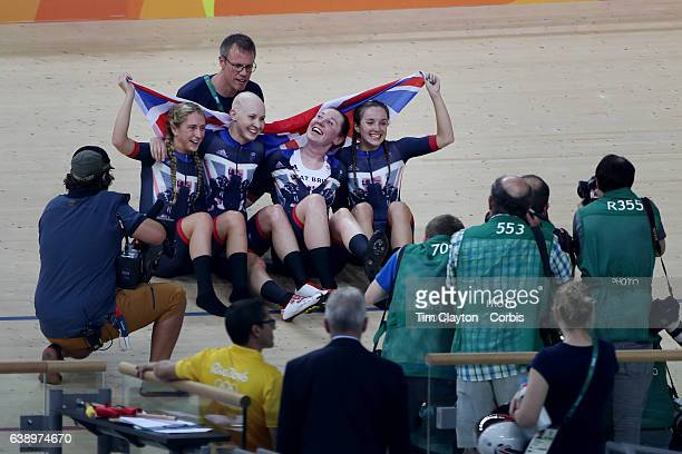 Day 8 The Great Britain team of Laura Trott Joanna RowsellShand Katie Archibald and Elinor Barker celebrate winning the gold medal in the Women's...