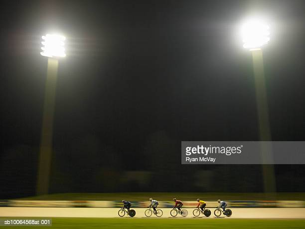 Track cycling race at night