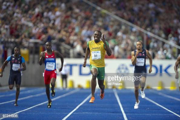 12th IAAF World Championships Jamaica Usain Bolt in action winning Men's 200M Final gold medal with world record time of 1919 at Olympiastadion...