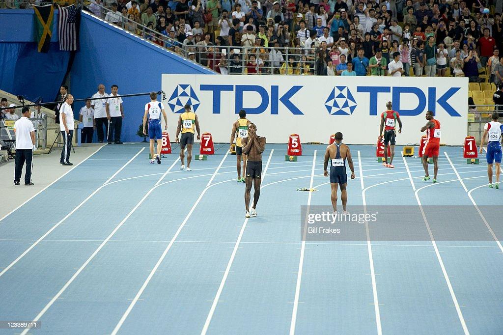 13th IAAF World Championships in Athletics Jamaica Usain Bolt upset after disqualification for false start before Men's 100M Final at Daegu Stadium...