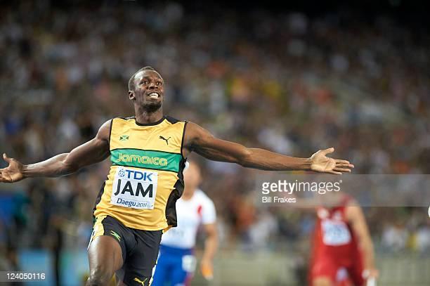 13th IAAF World Championships in Athletics Jamaica Usain Bolt victorious after winning Men's 4x100M Relay Final at Daegu Stadium Jamaica won gold...