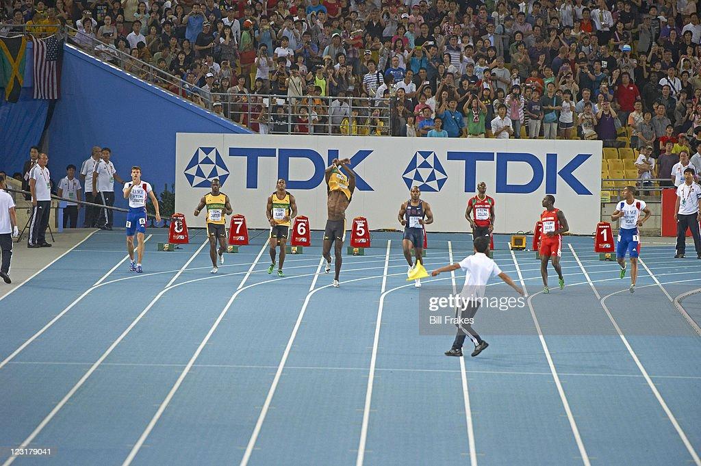 13th IAAF World Championships Jamaica Usain Bolt upset after getting disqualified for false start during Men's 100M Final at Daegu Stadium Bolt DQ...