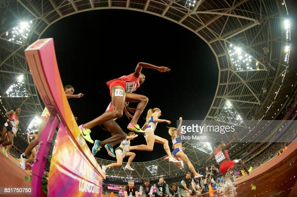 16th IAAF World Championships Bahrain Winfred Mutile Yavi in action during Women's 3000M Steeplechase Final at Olympic Stadium London England...