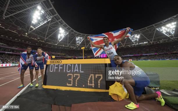 16th IAAF World Championships Great Britain Nethaneel MitchellBlake Danny Talbot Adam Gemili and Chijindu Ujah victorious posing with digital board...