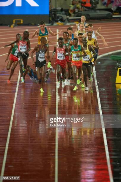 16th IAAF World Championships Kenya Cyrus Rutto Canada Mohammed Ahmed Bahrain Birhanu Balew and Ethopia Selemon Barega in action during Men's 5000M...