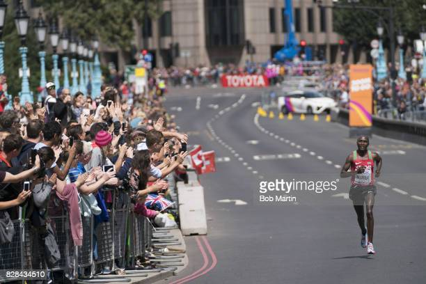 16th IAAF World Championships Kenya Geoffrey Kirui in action leading Men's Marathon at Tower Bridge London England 8/6/2017 CREDIT Bob Martin