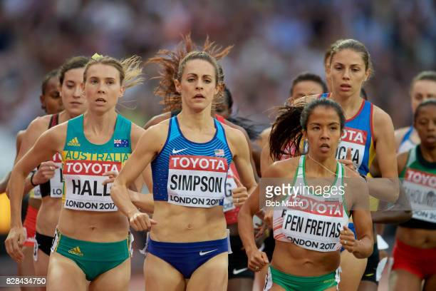 16th IAAF World Championships USA Jennifer Simpson Portugal Marta Pen Freitas and Australia Linden Hall in action during Women's 1500M race at...