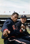 1954 Summer Olympics Closeup of USA Milt Campbell and Bob Richards posing during Decathlon at Melbourne Cricket Ground Melbourne Australia CREDIT...