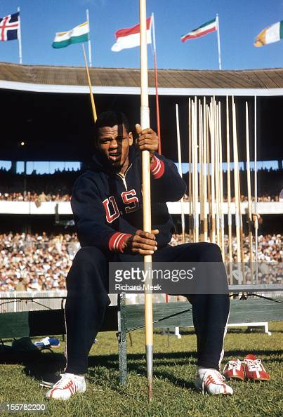 1954 Summer Olympics View of USA Milt Campbell posing during Decathlon at Melbourne Cricket Ground Melbourne Australia CREDIT Richard Meek