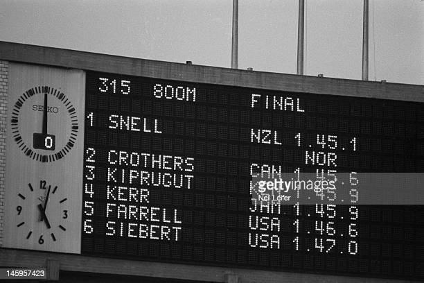 1964 Summer Olympics View of scoreboard after Men's 800M race at National Olympic Stadium New Zealand Peter Snell wins gold Canada William Crothers...