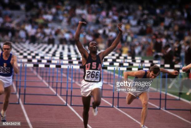1968 Summer Olympics Willie Davenport in action after crossing finish line of Men's 110M Hurdles Final at Estadio Olimpico Mexico City Mexico CREDIT...