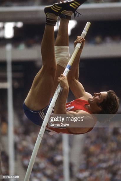 1976 Summer Olympics Closeup of USA Bruce Jenner in action during Pole Vault of Decathlon at Olympic Stadium Montreal Canada 7/30/1976 CREDIT James...