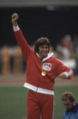 Track Field 1976 Summer Olympics USA Bruce Jenner victorious with gold medal after winning decathlon Montreal CAN 7/17/19767/31/1976
