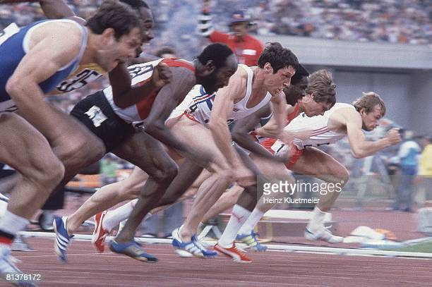 1980 Summer Olympics Great Britain Allan Wells in action at the start of 100M Semifinals at Central Lenin Stadium Moscow Soviet Union 7/25/1980