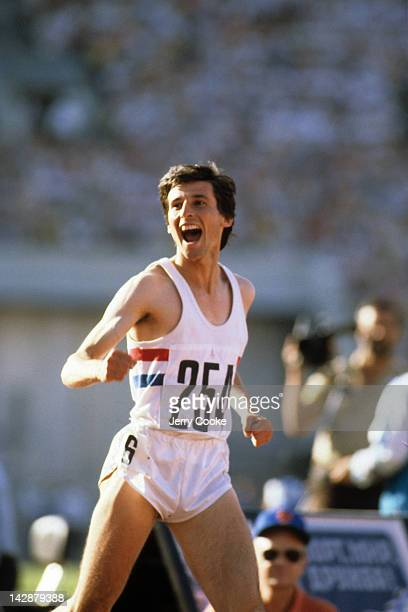 1980 Summer Olympics Great Britain Sebastian Coe victorious after winning gold during Men's 1500M FInal at Central Lenin Stadium Moscow Soviet Union...