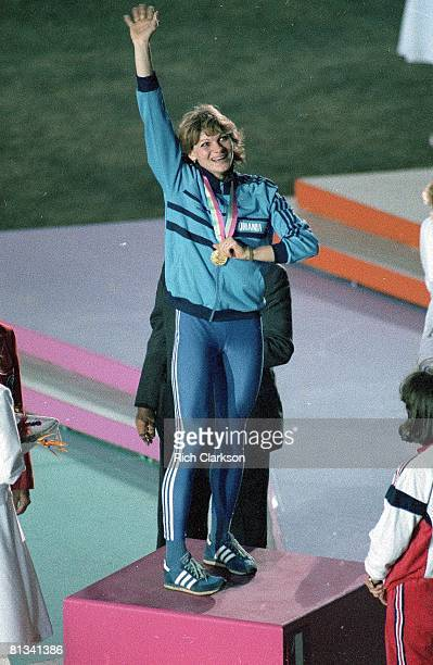 Track Field 1984 Summer Olympics ROM Anisoara Stanciu victorious on stand after winning long jump gold medal Los Angeles CA 7/28/19848/12/1984