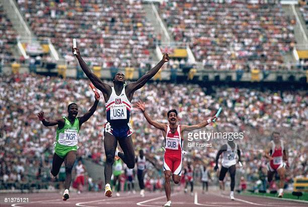 Track Field 1992 Summer Olympics USA Carl Lewis victorious after winning 4X100M relay gold medal and setting new world record Barcelona ESP 8/8/1992