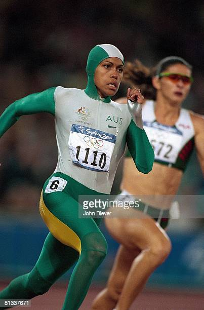 Track Field 2000 Summer Olympics Australia Cathy Freeman in action winning 400M final at Olympic Stadium Sydney AUS 9/25/2000