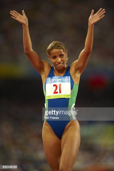 2008 Summer Olympics Brazil Lucimara Silva after Women's Heptathlon 800M Heats at National Stadium Beijing China 8/16/2008 CREDIT Bill Frakes