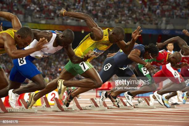 2008 Summer Olympics Jamaica Usain Bolt in action during start of Men's 100M Semifinals at National Stadium Beijing China 8/16/2008 CREDIT Heinz...