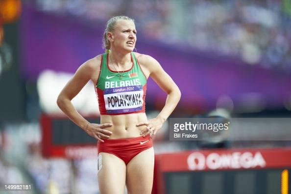 2012 Summer Olympics Closeup of Belarus Ekaterina Poplavskaya upset after Women's 100M Hurdles Heats disqualification at Olympic Stadium London...