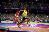 2012 Summer Olympics Jamaica Usain Bolt in action during Men's 100M Final at Olympic Stadium Bolt wins gold London United Kingdom 8/5/2012 CREDIT...