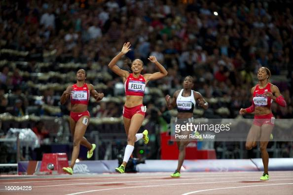 2012 Summer Olympics USA Allyson Felix victorious after winning gold during Women's 200M Final at Olympic Stadium London United Kingdom 8/8/2012...