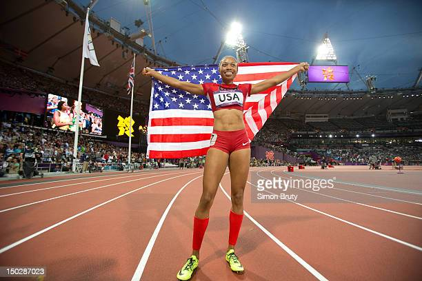2012 Summer Olympics USA Allyson Felix victorious after winning gold during Women's 4x400M Relay Final at Olympic Stadium London United Kingdom...