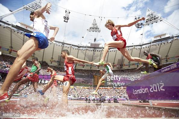 2012 Summer Olympics USA Evan Jager in action during Men's 3000M Steeplechase race at Olympic Stadium London Great Britain 8/3/2012 CREDIT Simon Bruty