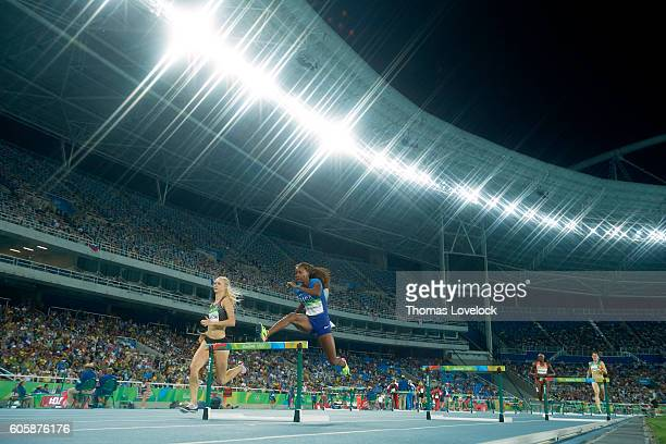 2016 Summer Olympics Canada Sage Watson and USA Daliah Muhammad in action during Women's 400M Hurdles Semifinal at Rio Olympic Stadium Rio de Janeiro...