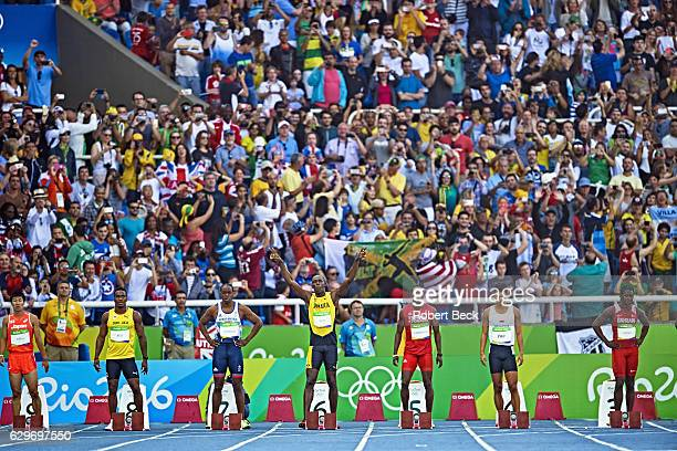 2016 Summer Olympics Japan Yoshihide Kiryu Saint Lucia Jahvid Best Great Britain James Dasaolu Jamaica Usain Bolt Trinidad and Tobago Richard...