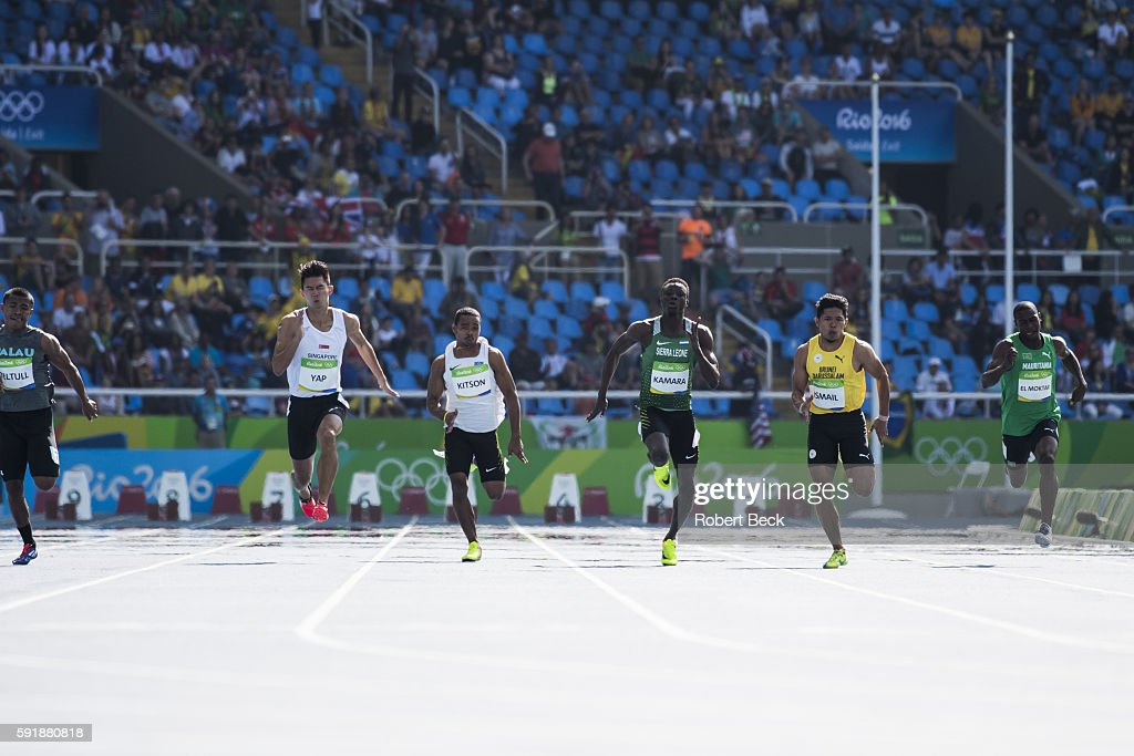 2016 Summer Olympics Singapore Jin Wei Timothee Yap Micronesia Kapririel Kitson Sierra Leone Ismail Kamara and Brunei Mohamed Fakhri Ismail in action...
