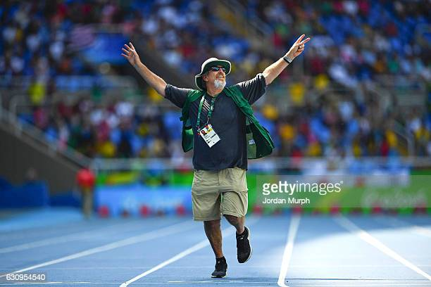 2016 Summer Olympics View of SI photographer Robert Beck running on track before race at Rio Olympic Stadium Rio de Janeiro Brazil 8/18/2016 CREDIT...