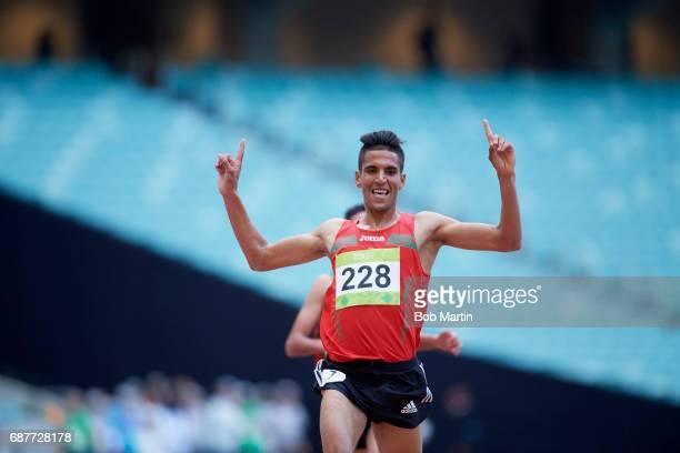 4th Islamic Solidarity Games Morocco Youness Essalhi victorious in action during Men's 5000M Final at Baku National Stadium Baku Azerbaijan 5/16/2017...