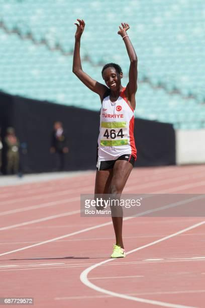 4th Islamic Solidarity Games Turkey Yasemin Can victorious during Women's 10000M at Baku Olympic Stadium Can wins gold Baku Azerbaijan 5/20/2017...