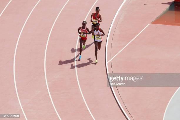 4th Islamic Solidarity Games Turkey Yasemin Can leading Baharain Rose Chelimo and United Arab Emirates Mohammed Alia during Women's 10000M at Baku...