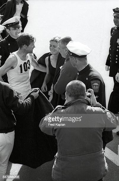 Boston Marathon USA Roberta Gibb after race at Boylston Street Bobbi Gibb becomes the first woman to run and complete race Boston MA CREDIT Fred...