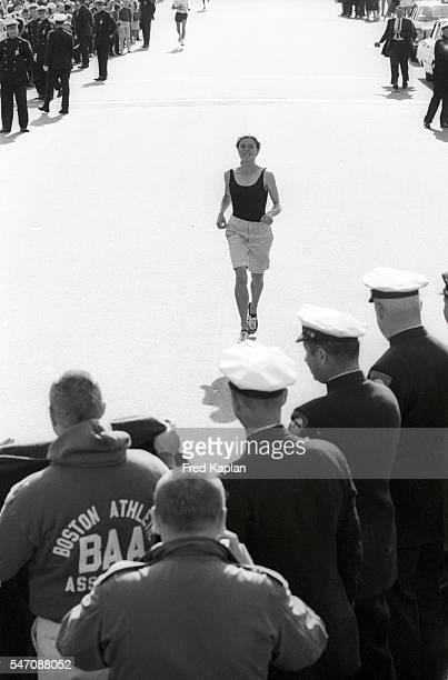 Boston Marathon USA Roberta Gibb in action during end of race on Boylston Street Bobbi Gibb becomes the first woman to run and complete race Boston...