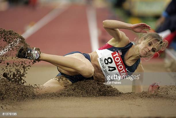 Track Field IAAF World Championships USA Grace Upshaw in long jump action during evening session final Helsinki Finland 8/10/2005