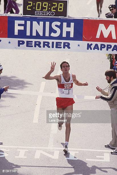 Track Field New York City Marathon Athletics West Alberto Salazar victorious crossing finish line and gesturing number three with fingers after...