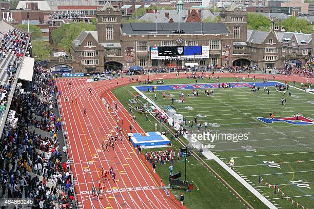 Penn Relays Aerial view of miscellaneous relay action during race at Franklin Field Overall view of track Philadelphia PA CREDIT Neil Leifer