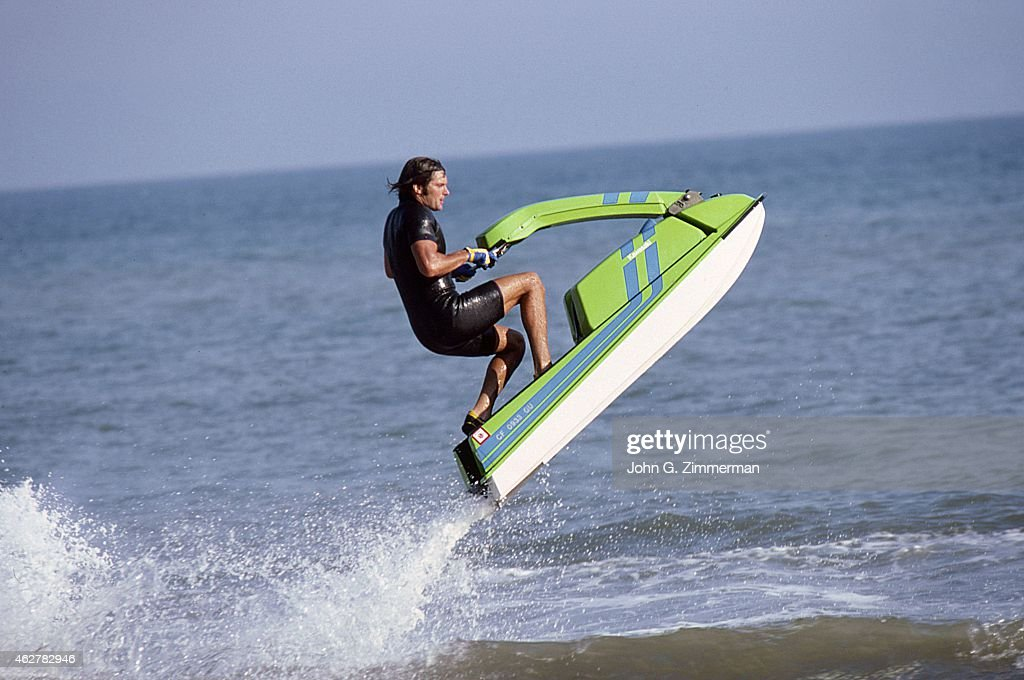 Portrait of media personality and Olympic Decathlon gold medalist Bruce Jenner on a Kawasaki jet ski during photo shoot in the Pacific Ocean Malibu...