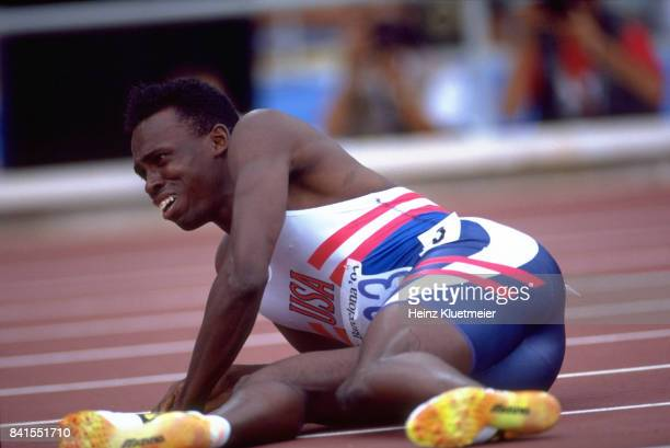 Summer Olympics USA Mark Witherspoon down on track during injury during Men's 100M Semifinals race at Estadi Olimpic de Montjuic Witherspoon ruptures...