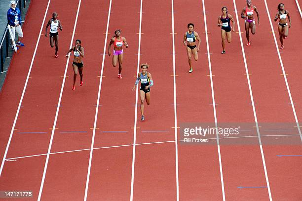 US Olympic Trials Aerial view of Diamond Dixon Dee Dee Trotter Francena McCorory Sanya RichardsRoss and Debbie Dunn in action during Women's 400M...