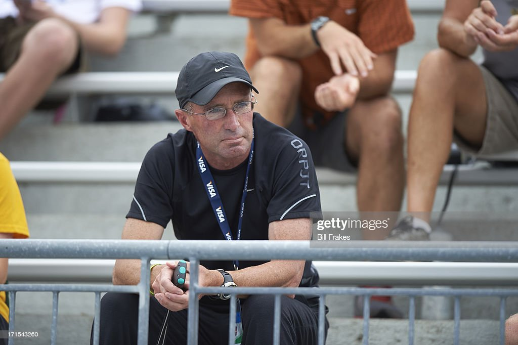 View of Alberto Salazar, coach of Mary Cain, in stands at Drake Stadium. Bill Frakes F87 )
