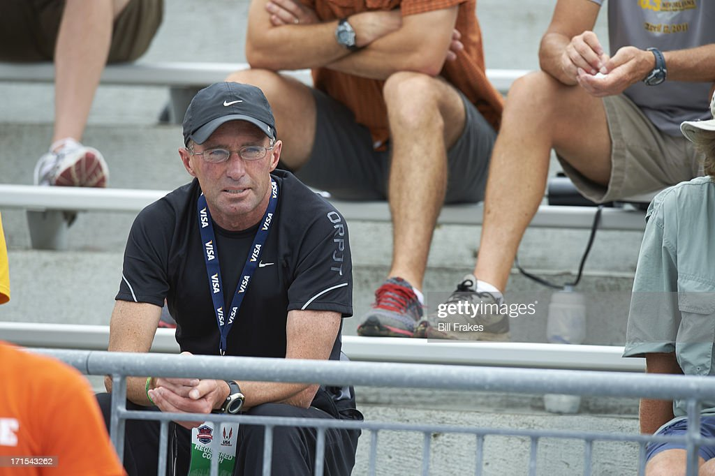 View of Alberto Salazar, coach of Mary Cain, in stands at Drake Stadium. Bill Frakes F129 )