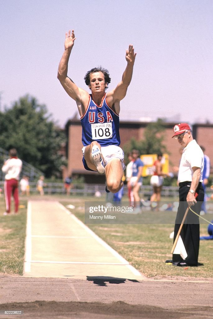 USA Fred Dixon (108) in action during Long Jump at Hayward Field. Eugene, OR 8/10/1975