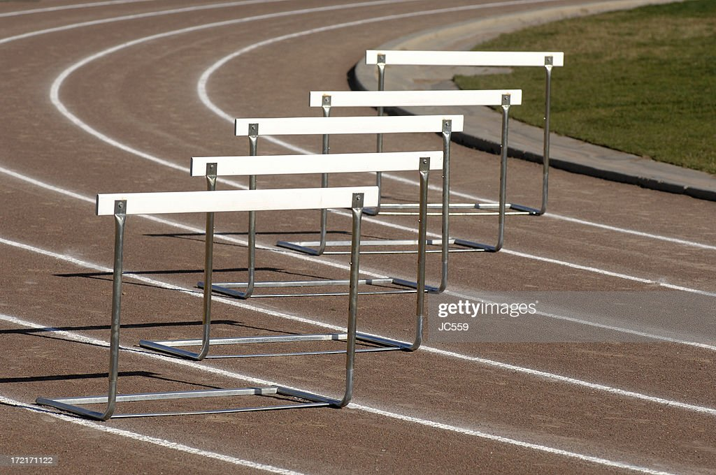 Track hurdle : Stock Photo