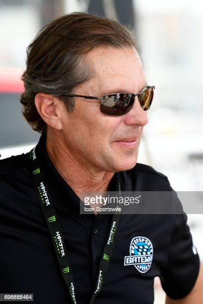 Track owner Curtis Francois looks on during the driver autograph session for the NASCAR Camping World Truck Series Drivin' for Linemen 200 on June 17...